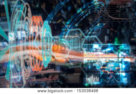 Scientific hud horizontal background as medical and biological futuristic research