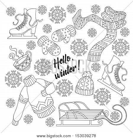 Cartoon Cute Doodles Hand Drawn Hello Winter . Sketch Detailed