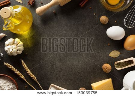 bakery products on black background texture