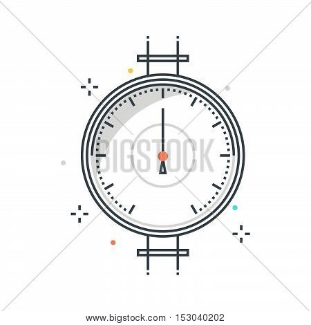 Color Line, Pressure Meter Concept Illustration, Icon