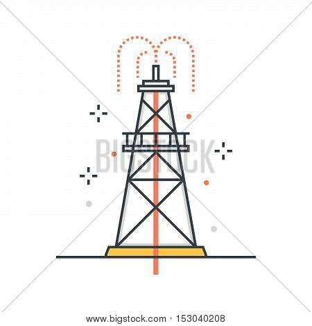 Color Line, Drilling Rig Concept Illustration, Icon
