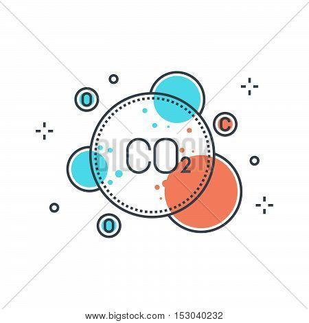 Color Line, Pollution Concept Illustration, Icon