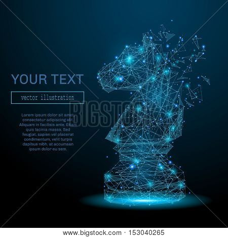 Chess horse consisting of points, lines and luminous forms. Abstract business illustration of a starry sky of galaxies. Vector for business presentation .