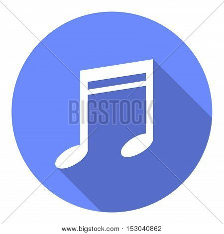 Music Note Flat Icon. A vector flat icon of a musical note.