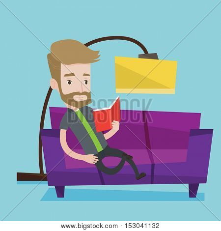Smiling hipster man with beard reading book on sofa. Caucasian man relaxing with a book on the couch at home. Man sitting on a sofa and reading a book. Vector flat design illustration. Square layout.