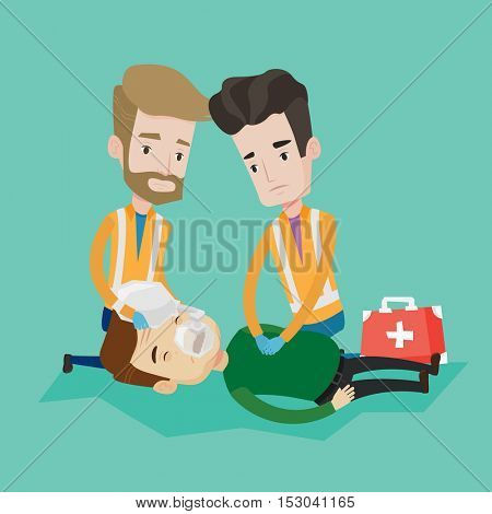 Team of young emergency doctors during process of resuscitation of an injured man. Caucasian paramedics doing cardiopulmonary resuscitation of a man. Vector flat design illustration. Square layout.