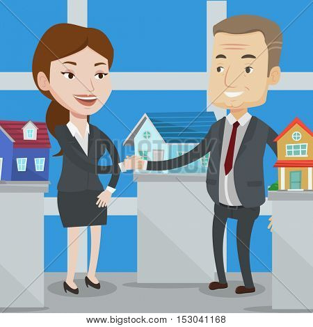 Real estate agent shaking hands with customer on the office backround with models of houses. Cartoon of agreement between real estate agent and buyer. Vector flat design illustration. Square layout.