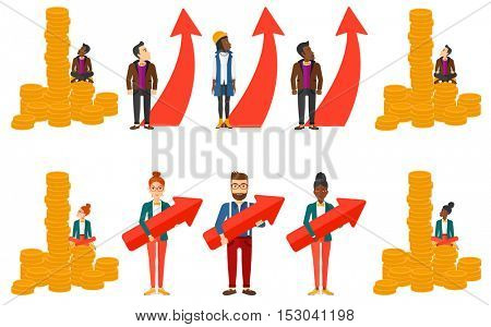 Businessman thinking about a strategy of business growth. Businessman holding arrow representing business growth. Business growth concept. Set of vector illustrations isolated on white background.