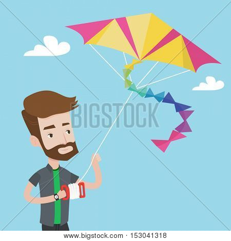 Young hipster man with the beard flying a colourful kite. Caucasian man controlling a kite. Happy man walking with kite. Cheerful man playing with kite. Vector flat design illustration. Square layout.