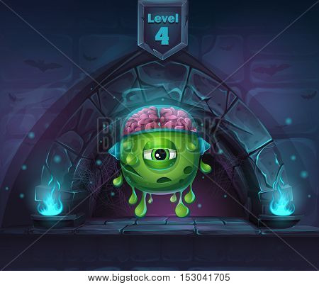 Monster with brains in Arch Magic in next 4th level. For web video games user interface design.