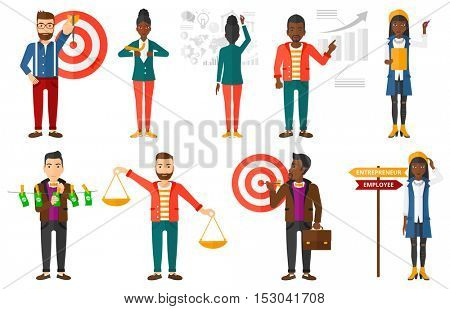 Businessman shooting in business goal. Businessman focused on business goal. Businessman aiming at business goal. Business goal concept. Set of vector illustrations isolated on white background.