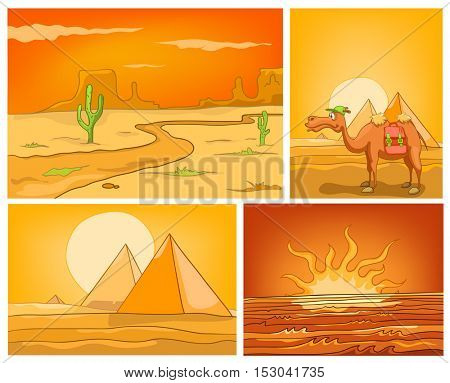 Hand drawn cartoon set of desert landscapes. Colourful cartoons of desert backgrounds. Vector cartoon set of landscapes of desert with cactus, camel, pyramids. Cartoon background of sunset or sunrise.