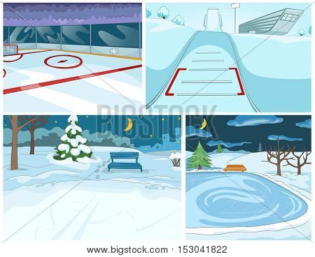 Hand drawn vector cartoon set of infrastructure for winter sports and winter landscapes. Cartoons of winter backgrounds. Background of winter park. Cartoon of ice skating rink and ski springboard.