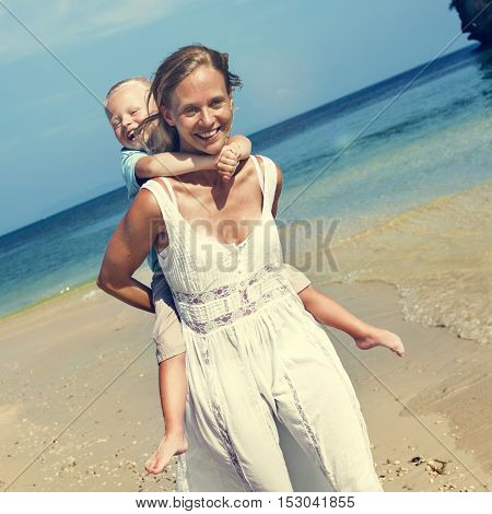 Mother Son Beach Summer Vacation Nature Concept