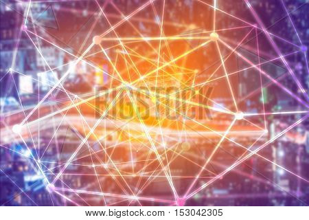 geometrical futuristic cyber background as concept of global connection