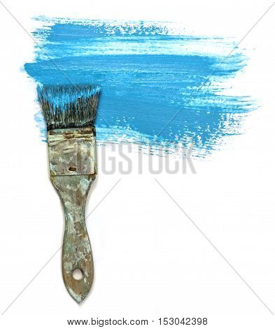 An abstract background with teal blue paint strokes. Artistic texture with a place for text, with a painter's brush at the side