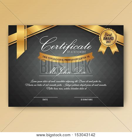 Elegant certificate of achievement with ornaments Geometric pattern background A4 size with bleeds. Vector illustration