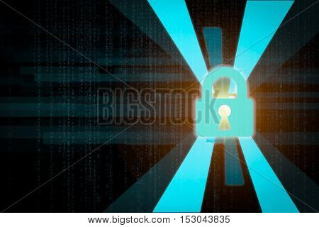 cyber lock laser background as concept of data security