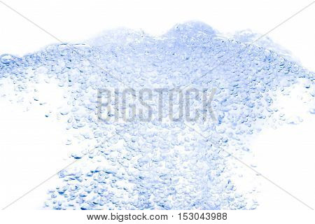 Water splash Blue with bubbles of air on white background :Select focus with shallow depth of field.