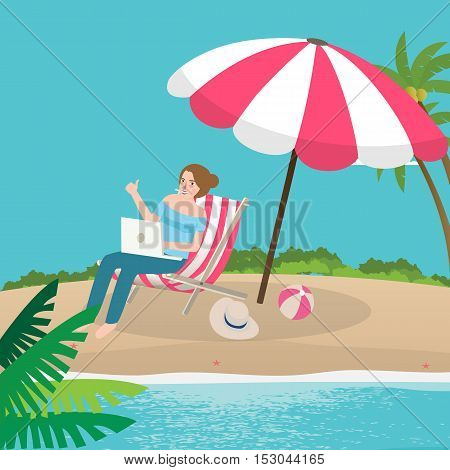 freelancer working remote enjoy on the beach sand with laptop vector