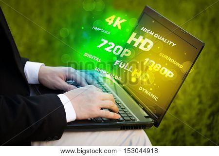 Man choosing display resolution concept