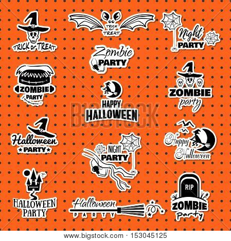 Set of decorative Halloween stickers. Black stickers isolated on orange background. Elements of design for Halloween. Vector illustration