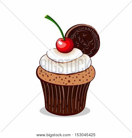 Hand drawn cupcake with cherry, cookie and cream isolated on white background. Vector illustration. Can be used for design of bakery or for cafe.
