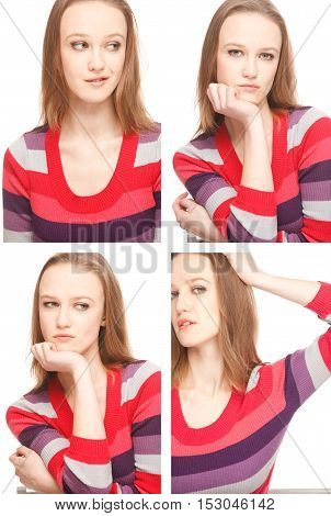 Four images of a young woman in Photo Booth expressing different emotions