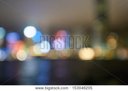 Defocused shot of Hong Kong downtown at night.