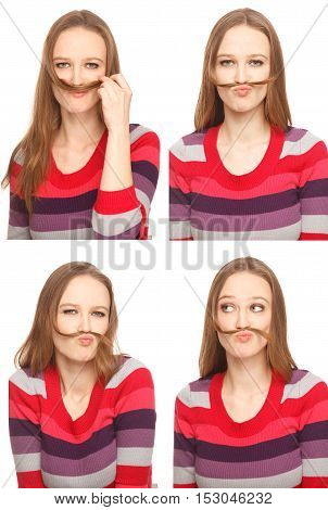 Four images of a young woman in Photo Boothmaking herself a moustache from her long hair