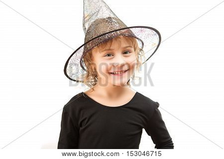 Beautiful Girl Witch On A White Background
