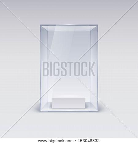 Glass Showcase for Presentation on white Background