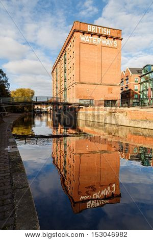 NOTTINGHAM ENGLAND - OCTOBER 19: Nottingham British Waterways building reflected in the canal. In Nottingham England. On 19th October 2016.