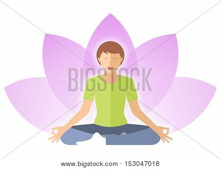 Young woman meditates in the lotus pose. Female person is sitting on a lotus flower background. Flat vector concept illustration of yoga harmony relaxation. Design element for hinduism infographic.