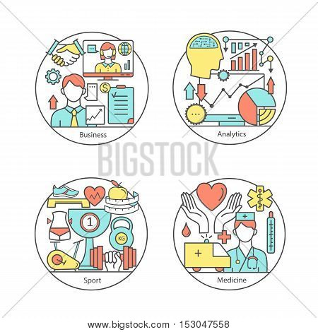 Vector set of logos sport, business, medicine, analytics. Modern thin line icons. The modern concept of a collection of vectors. Unique design elements for your company. Labels for school, College and University.