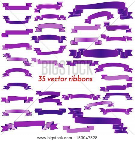 Set of Thirty Five Violet Empty Ribbons And Banners. Ready for Your Text or Design. Isolated vector illustration.