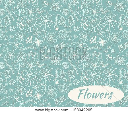 Seamless floral doodle pattern background with gentle colors