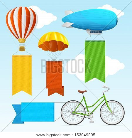 Airship Transport Banners with Empty Color Ribbons for Your Text. Vector illustration