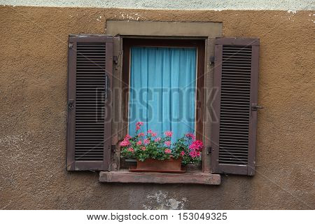 Windows with shutters / Geranium on the window sill