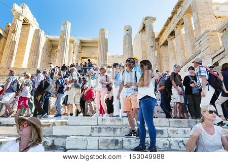 Athens, Greece - October 14, 2016: Tourists entering Acropolis of Athens