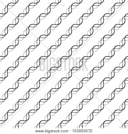 Seamless Curved Shape Pattern. Vector Black and White Background. Abstract Diagonal Stripe Design