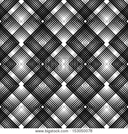 British Plaid Ornament. Abstract Diagonal Thin Line Art Pattern. Wrapping Paper Checks Texture. Seamless Tartan Pattern. Vector Black and White Woven Background
