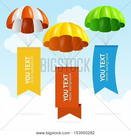 Parachute Banners in the Sky with Empty Color Ribbons for Your Text. Vector illustration