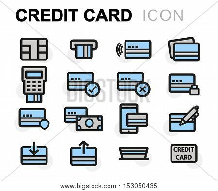 Vector flat line credit card icons set on white background