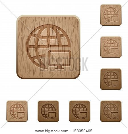 Remote terminal icons in carved wooden button styles