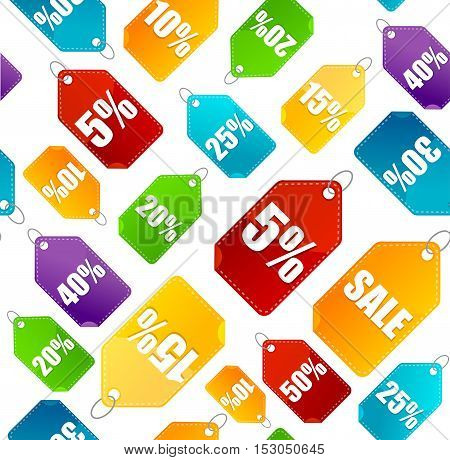 Color Sale Labels Background Pattern on a Light. Discount Stickers. Vector illustration