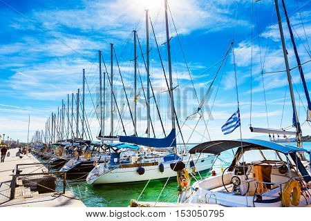 Volos, Greece - October 13, 2016: Sailing ships and yachts stand moored in the port of Volos, Greece