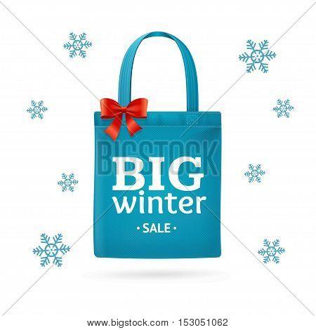 Winter Big Sale Fabric Cloth Bag Tote. Seasonal Discounts. Vector illustration