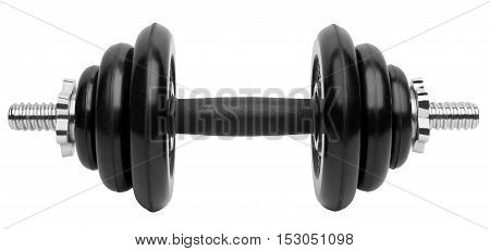 Collapsible dumbbell with rubber coated disks isolated on white
