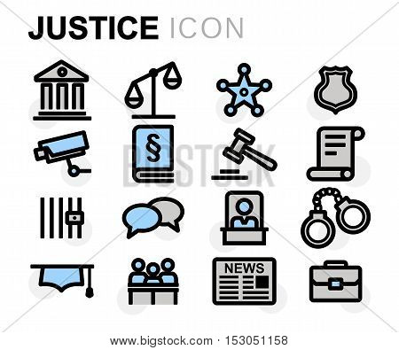 Vector flat line justice icons set on white background